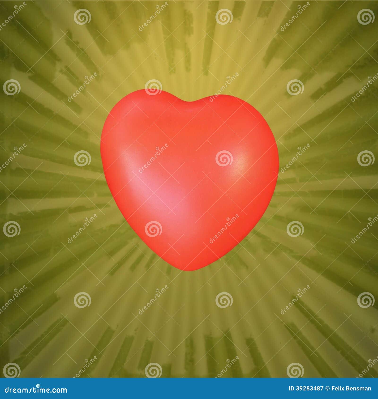 Rood hart op abstracte groene gele achtergrond