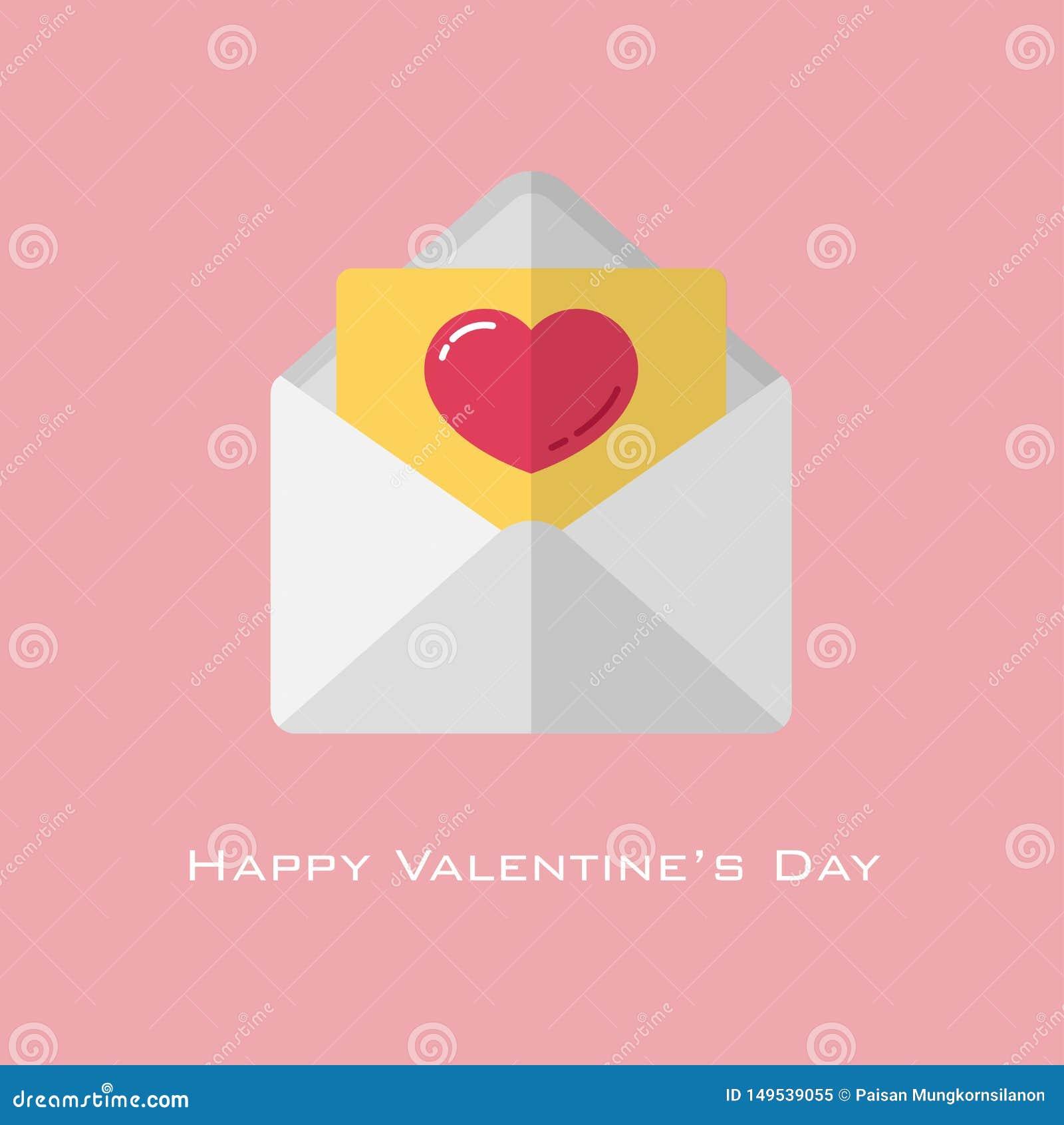 Rood hart op geel document in witte envelop in vlakke stijl voor de dag van de valentijnskaart