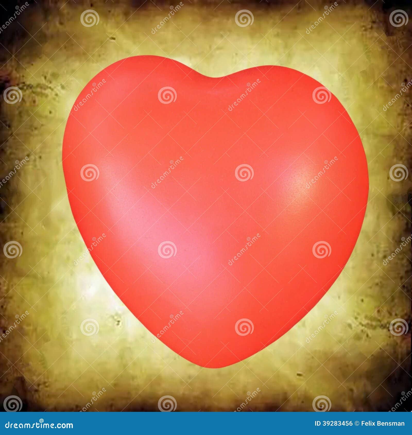 Rood hart op grunge oranje achtergrond
