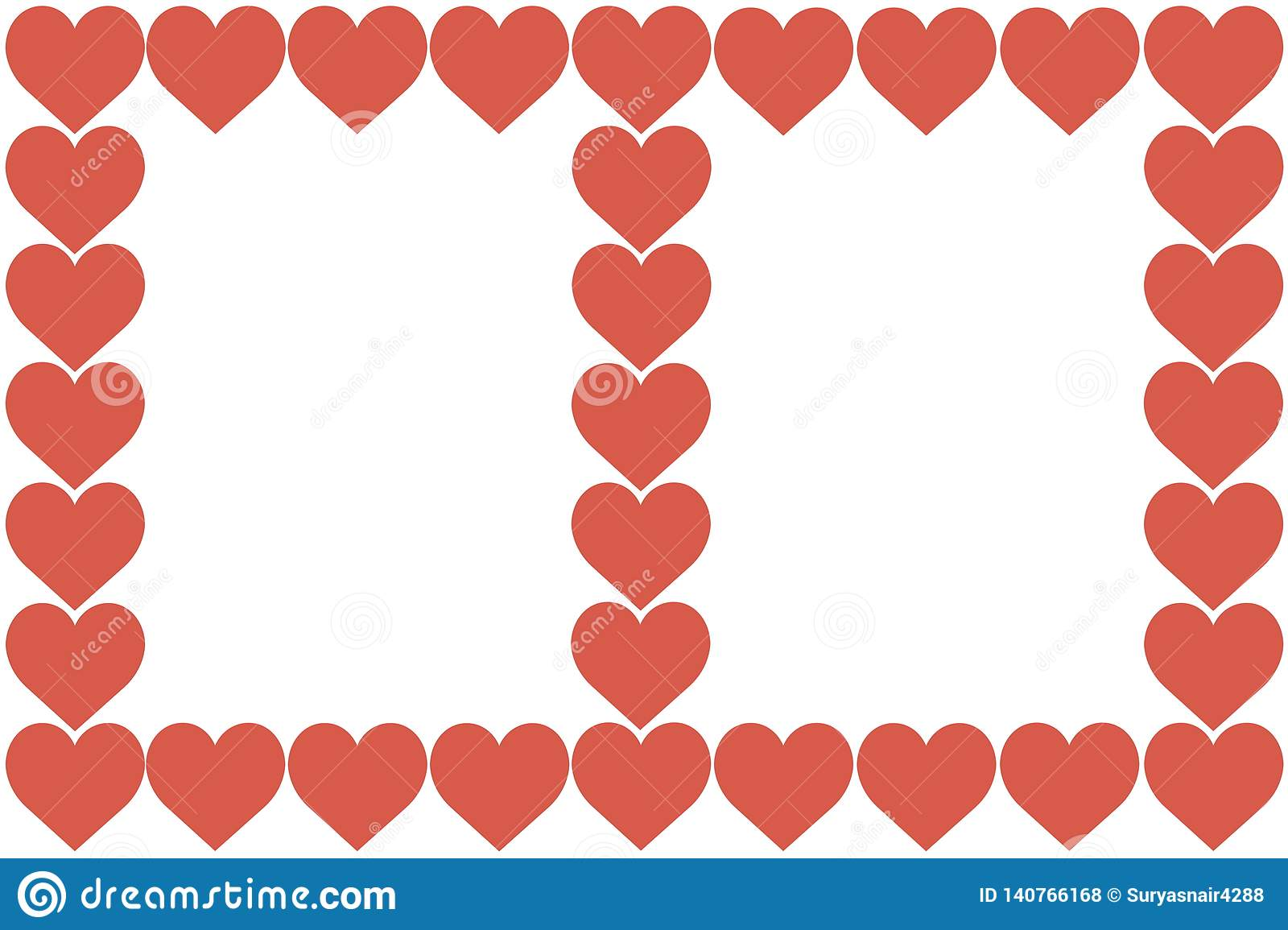 Rood Hartenontwerp op Witte Achtergrond Liefde, Hart, de Dag van Valentine Kan voor Artikelen, Druk, Illustratiedoel worden gebru
