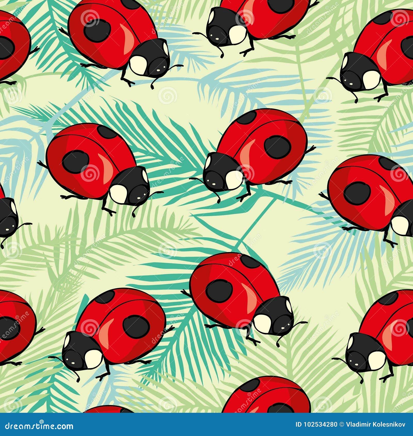 Rood Lieveheersbeestjes en lijnenbeeldverhaal naadloos patroon dat op een witte achtergrond wordt geïsoleerd