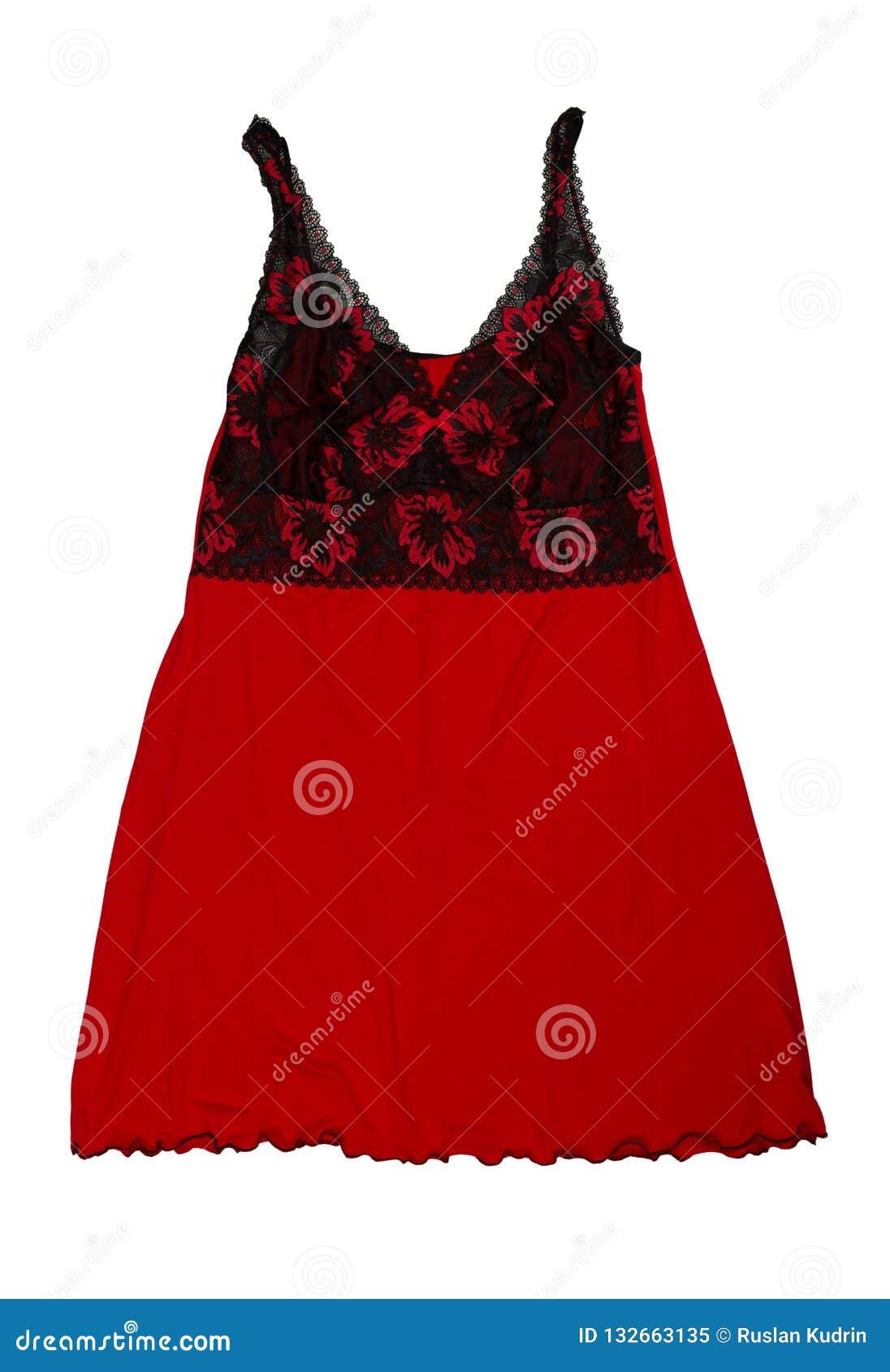 Rood met een zwarte nachtjapon Isoleer op wit