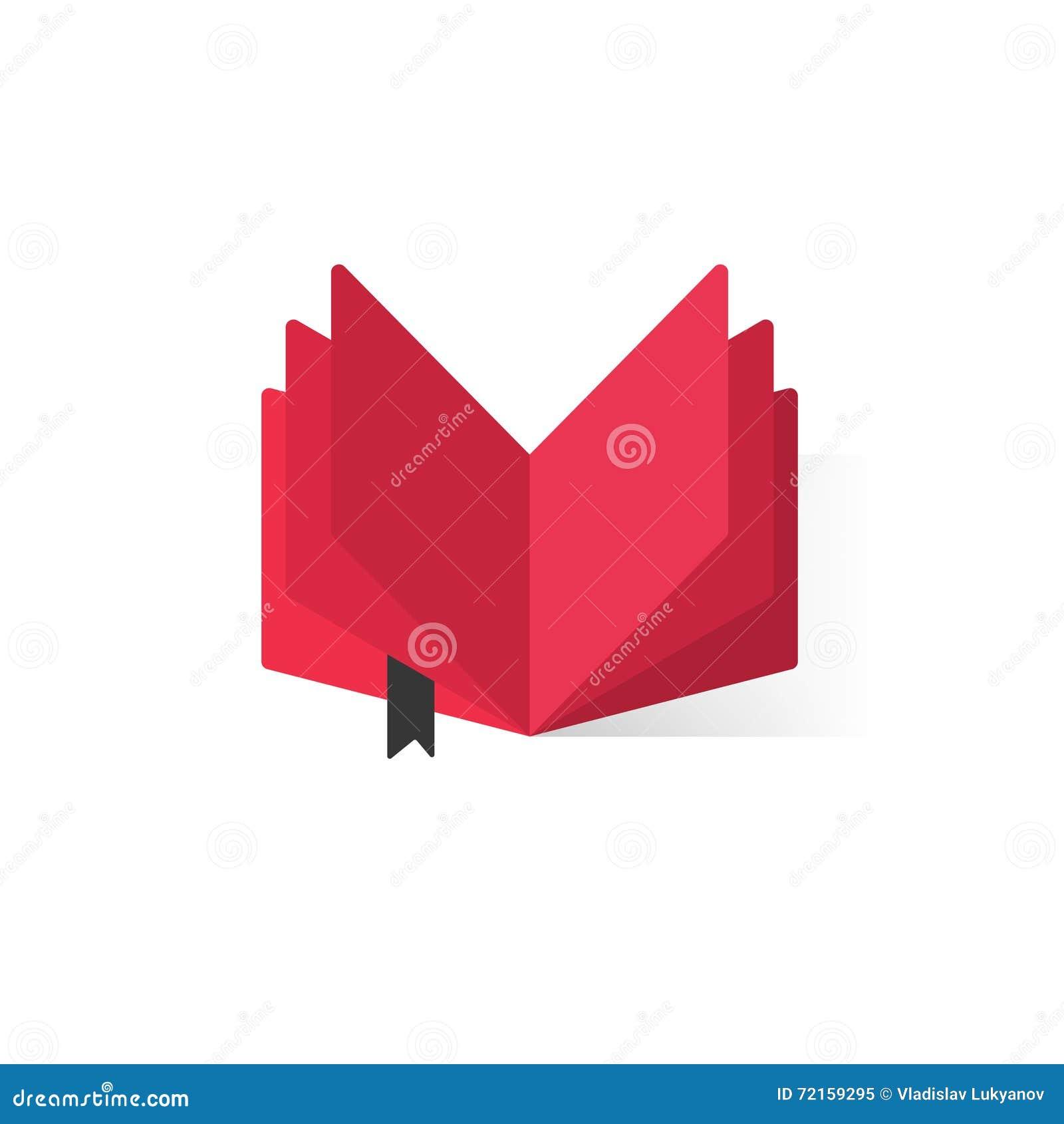 Rood open boek met abstracte pagina s en referentie vectorembleem