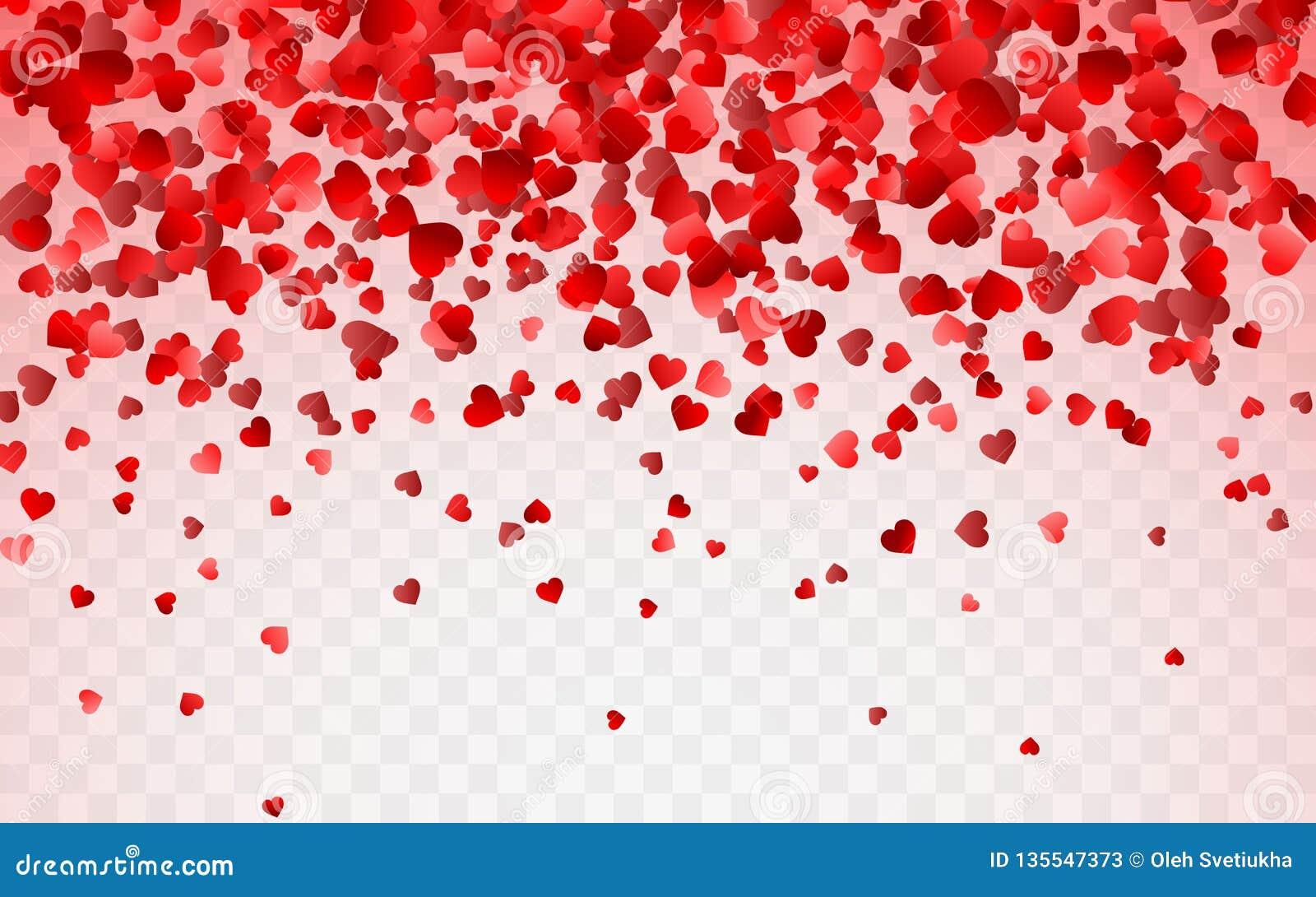 Rood patroon van willekeurige dalende hartenconfettien Het element van het grensontwerp voor feestelijke banner, groetkaart, pren