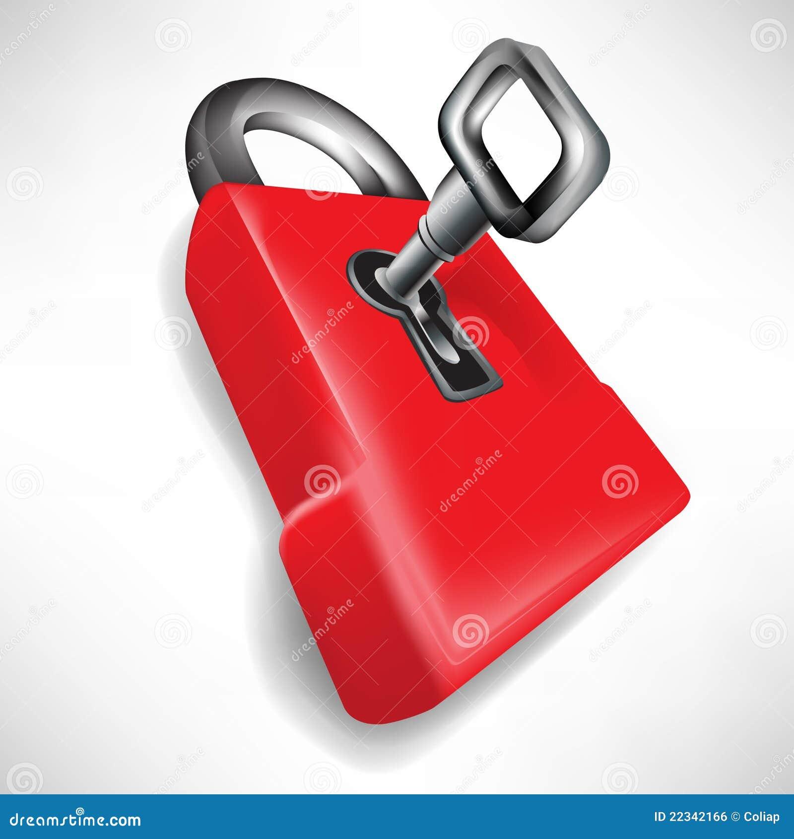 Rood slot met sleutel vector illustratie afbeelding for Ladenblok met slot