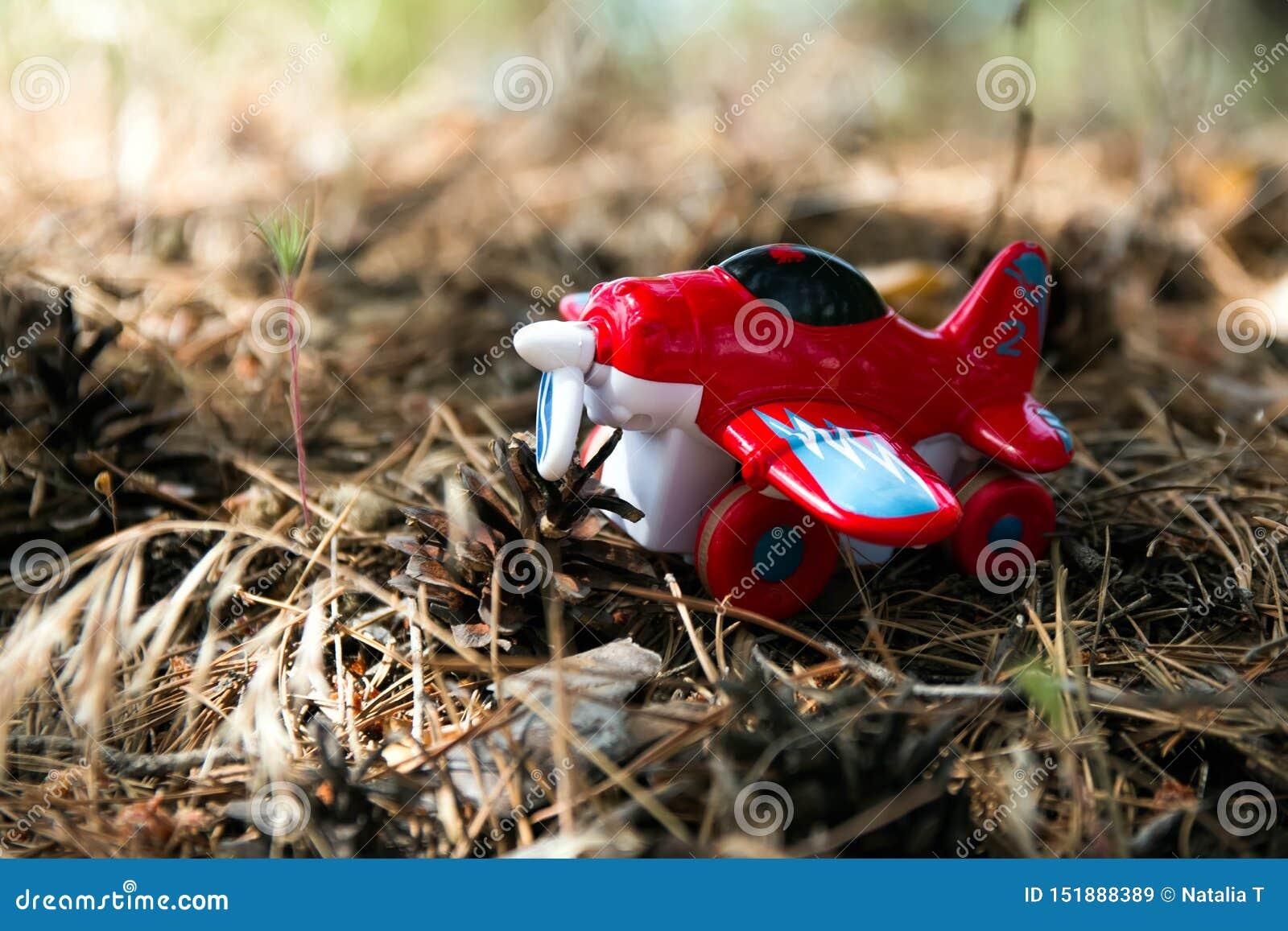 Rood stuk speelgoed vliegtuig tegen, een achtergrond van gebladerte