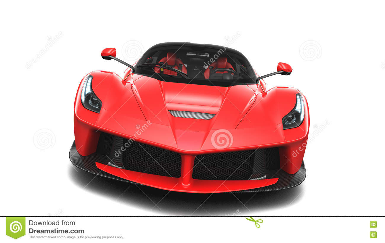 Rood Supercar Front Studio View Stock Illustratie Afbeelding