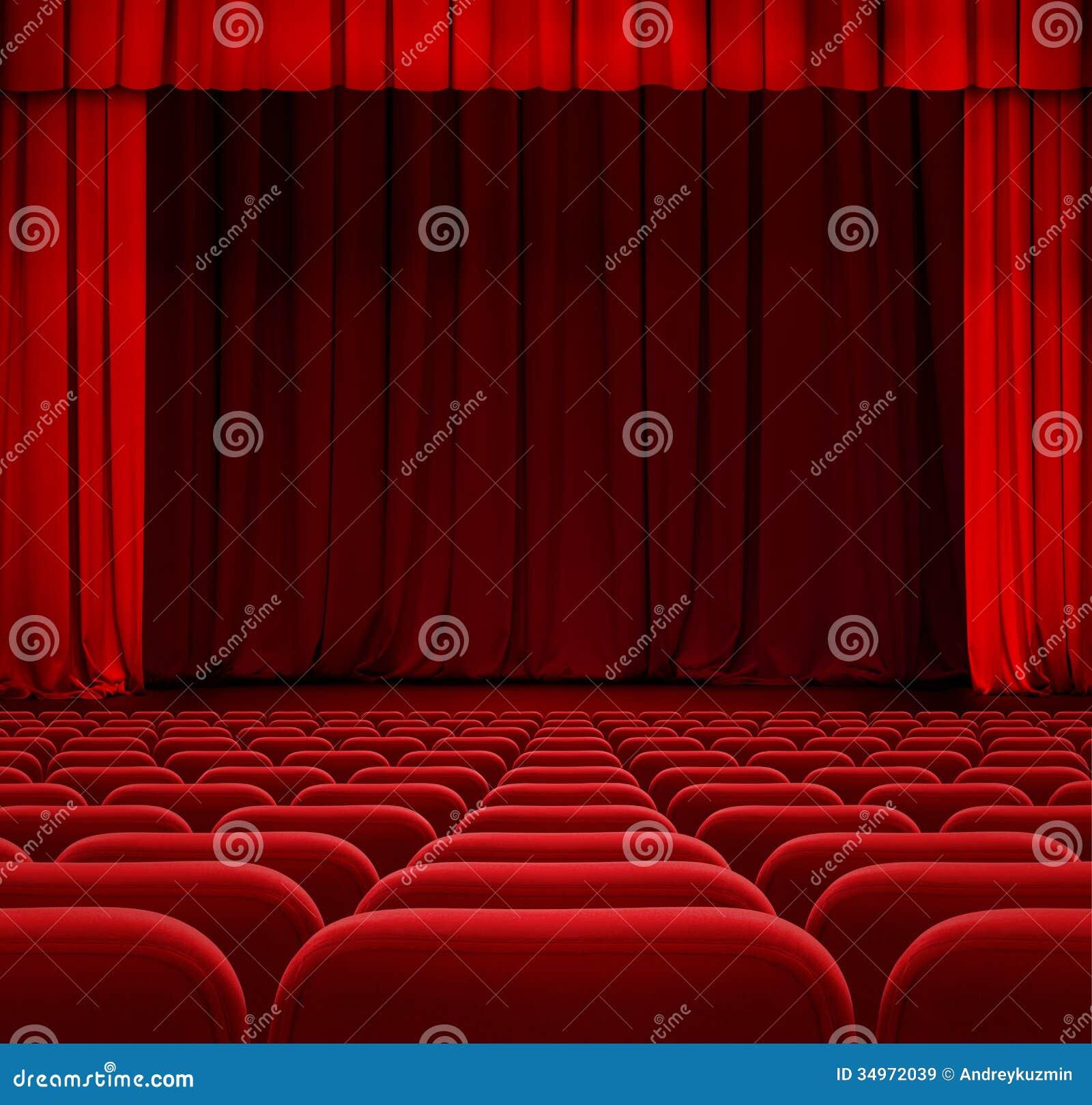 Rood theater of bioskoopgordijn of gordijn