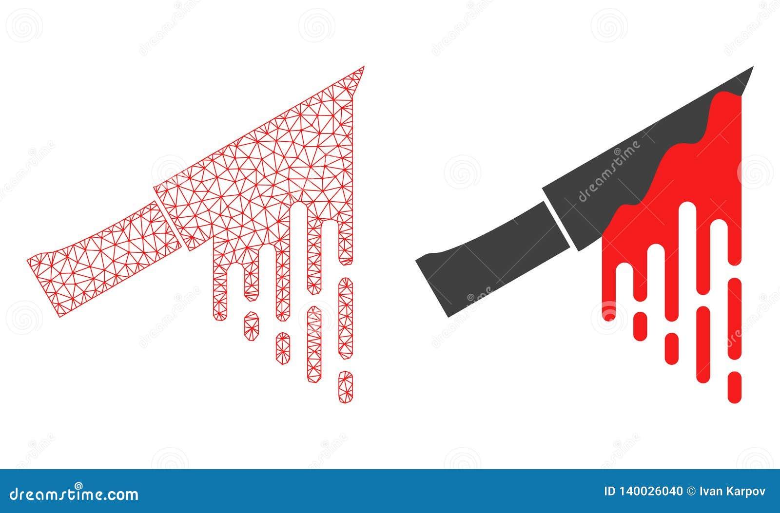 Rood Veelhoekig Draadkader Mesh Bloody Knife en Vlak Pictogram