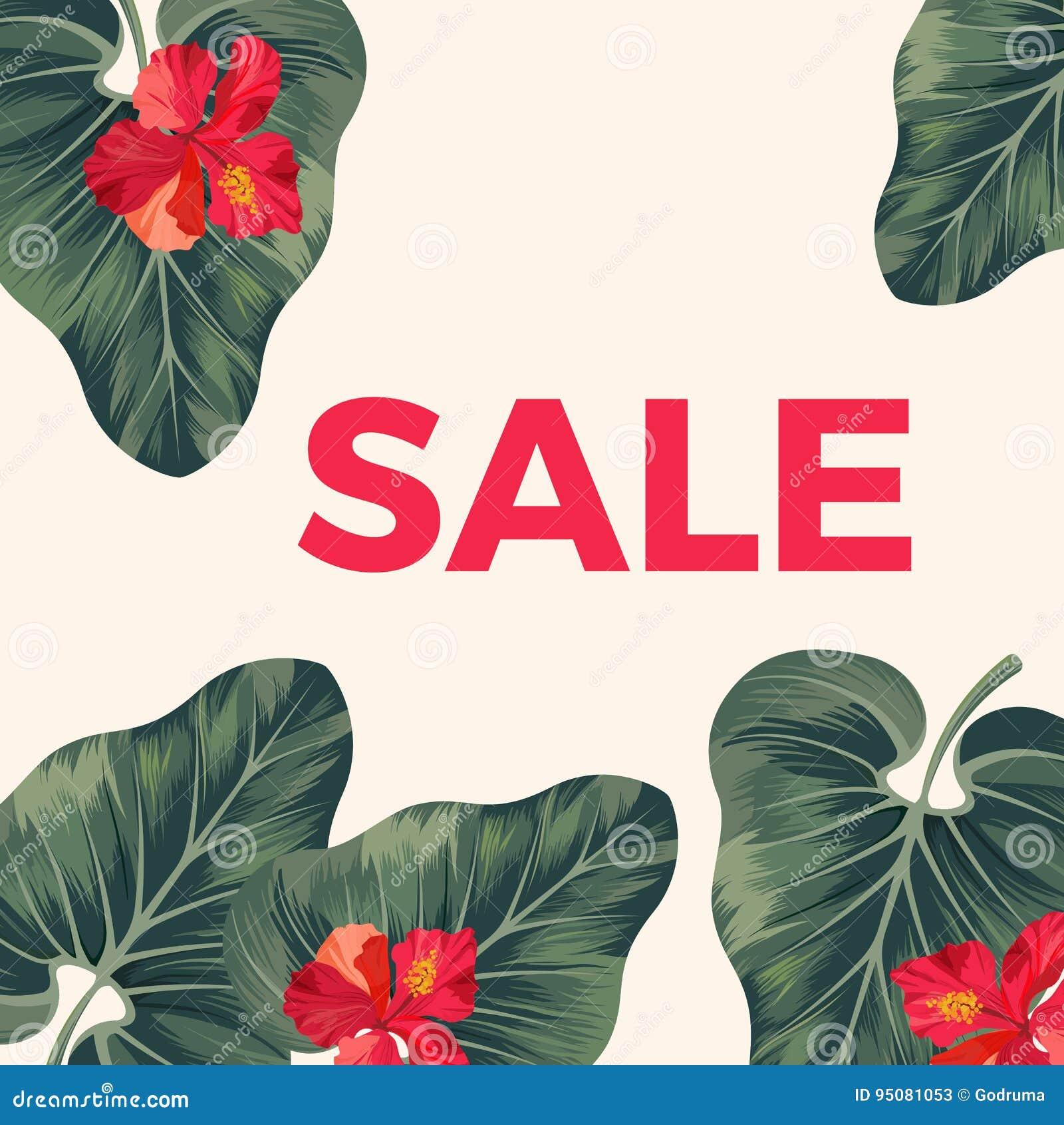 Rood verkoopteken op promoaffiche met bladeren en bloemen