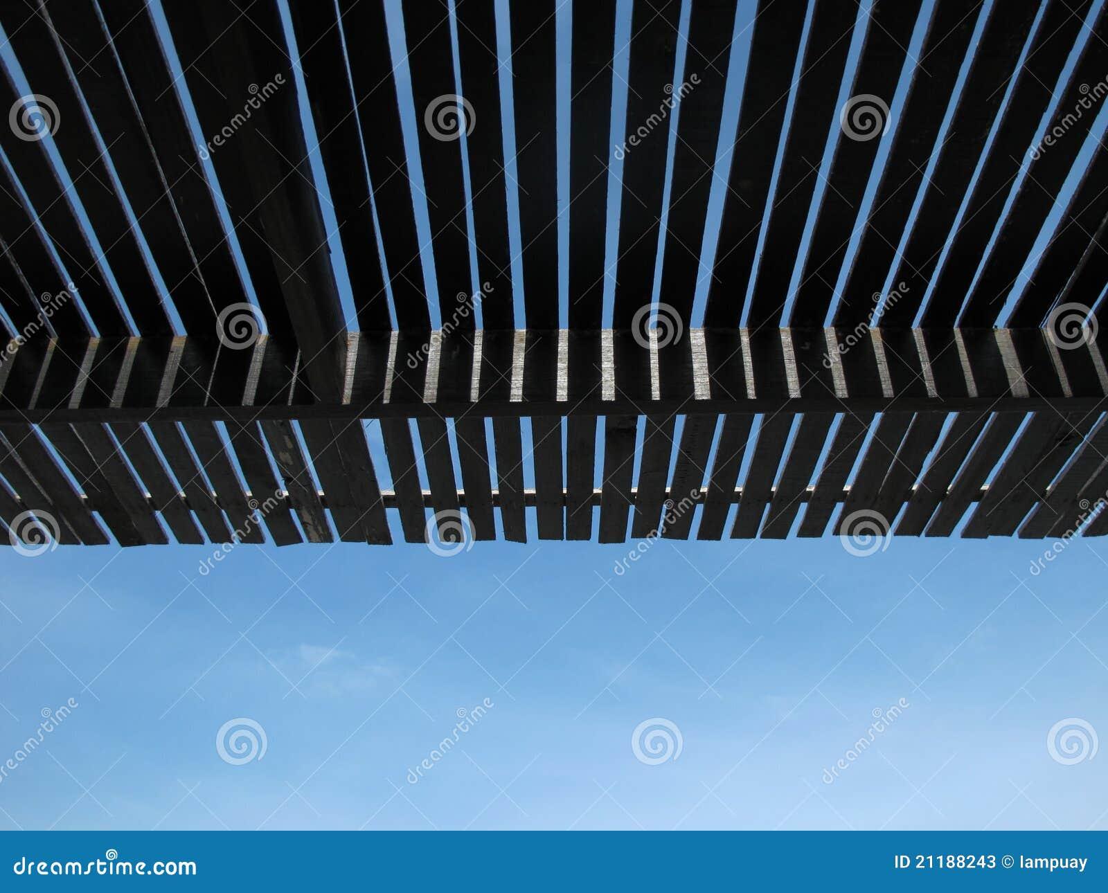 Roof batten under sky