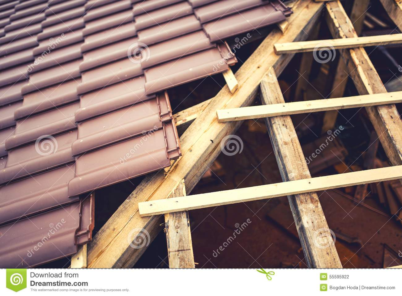 Stock Photo: Roof building with ceramic brown tiles on wooden, timber ...