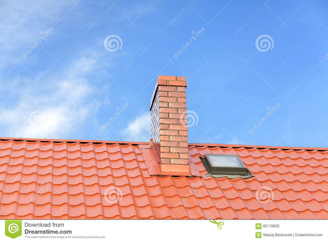 Roof with ceramic tile chimney against blue sky stock image roof with ceramic tile chimney against blue sky dailygadgetfo Choice Image