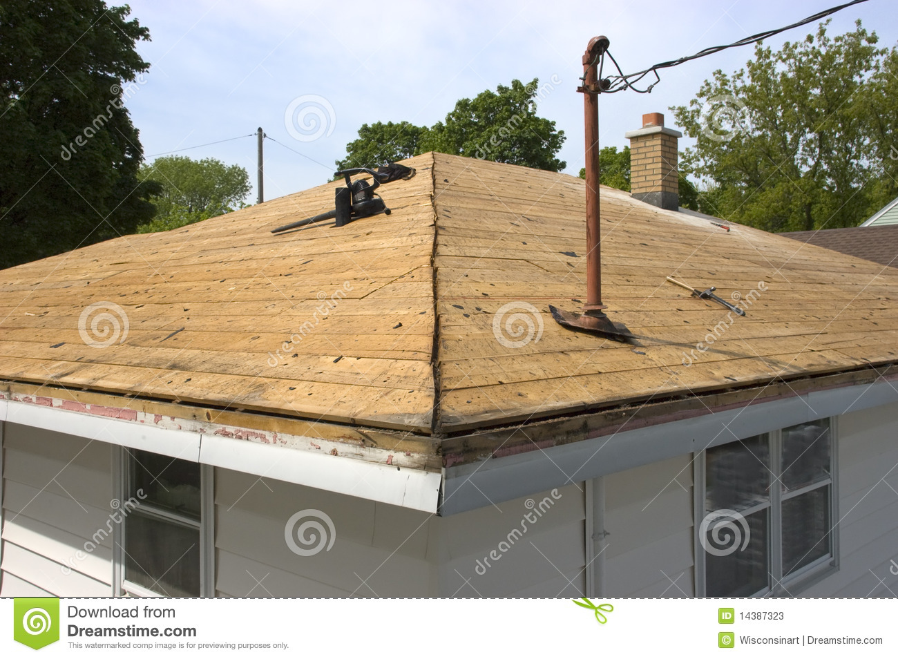 Roof Cleared Of Of Old Eaking House Shingles Stock Image