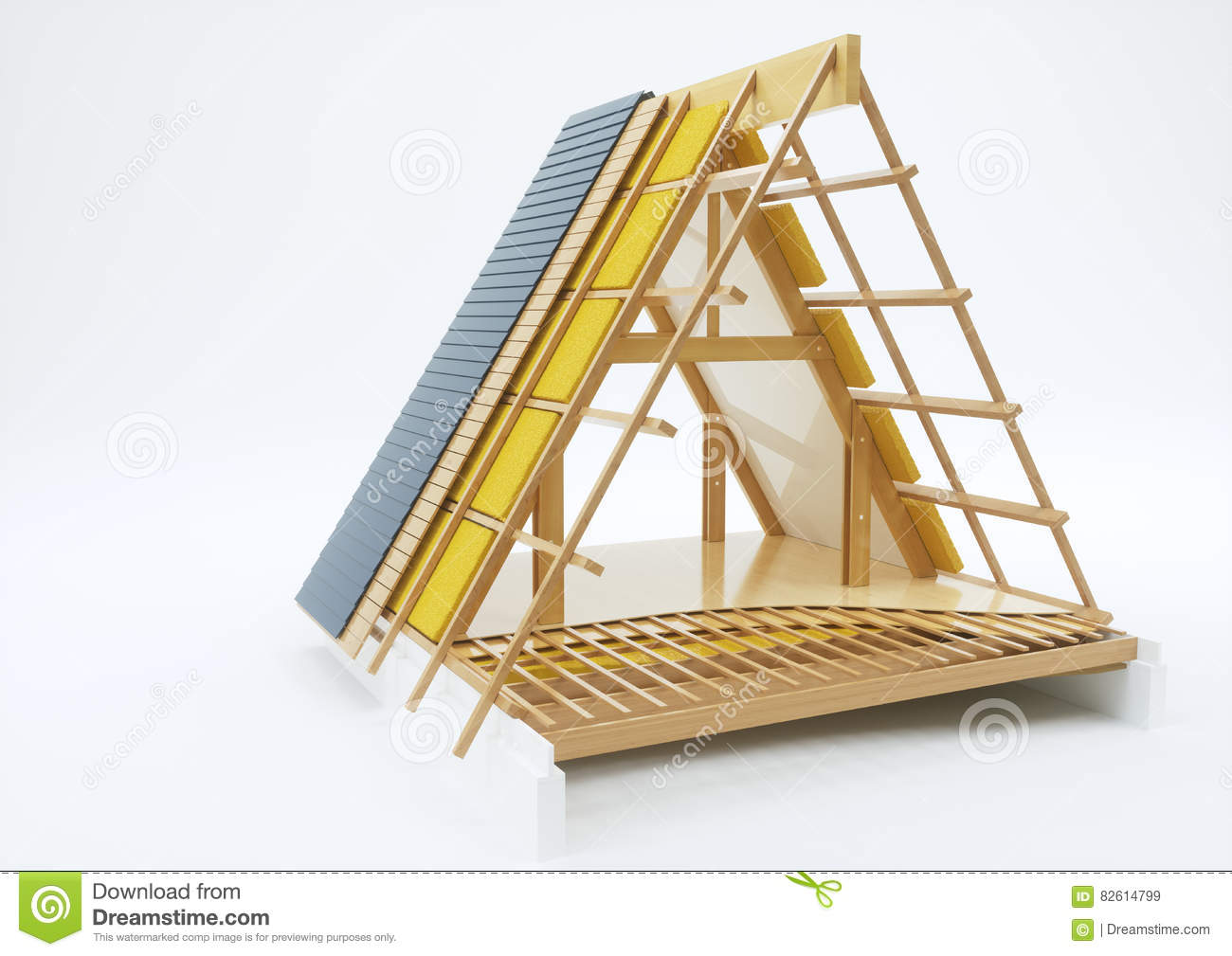 Roof Construction With Technical Details 3d Rendering