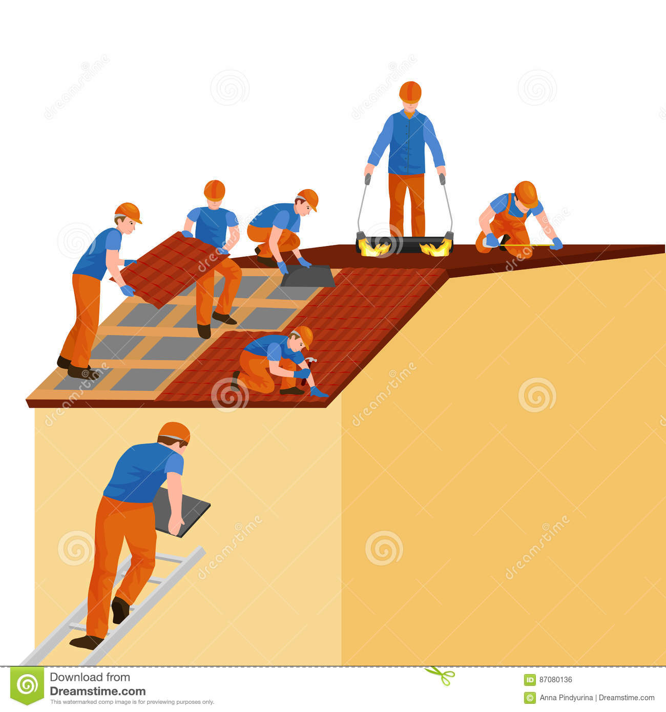 Cartoon Roofing Installation : Roof construction worker repair home build structure