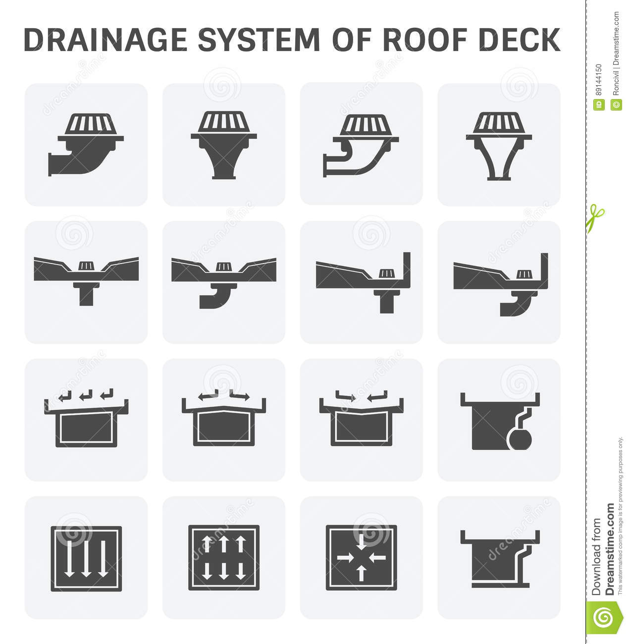 Roof Deck Drainage Stock Vector Image Of Equipment Flow