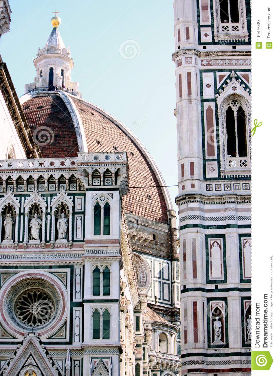 the roof of the fabulous famous duomo in florence italy stock image