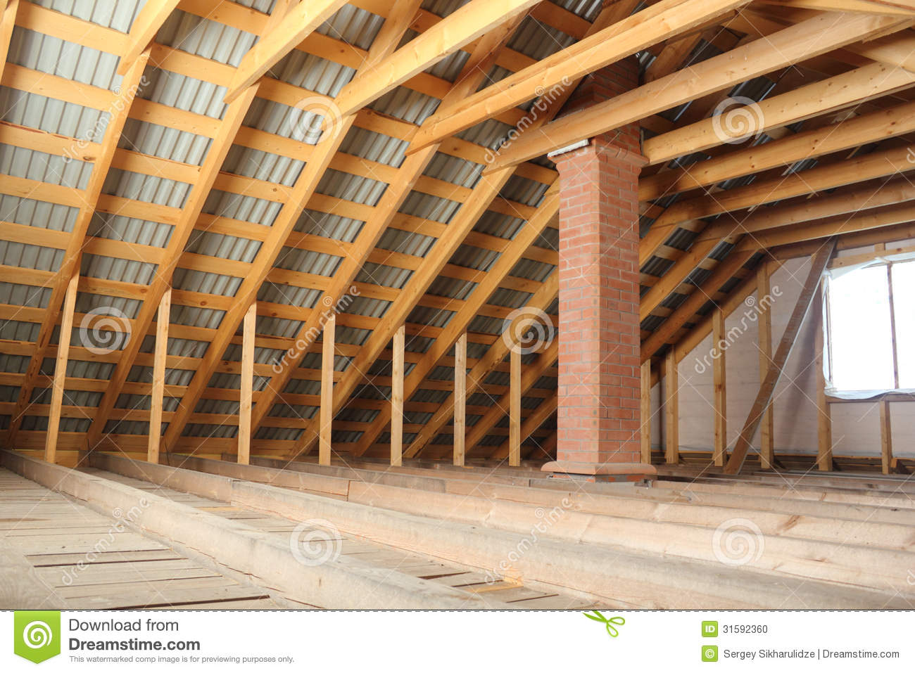 Roof Frame Covered By Profiled Metal Sheet And Brick