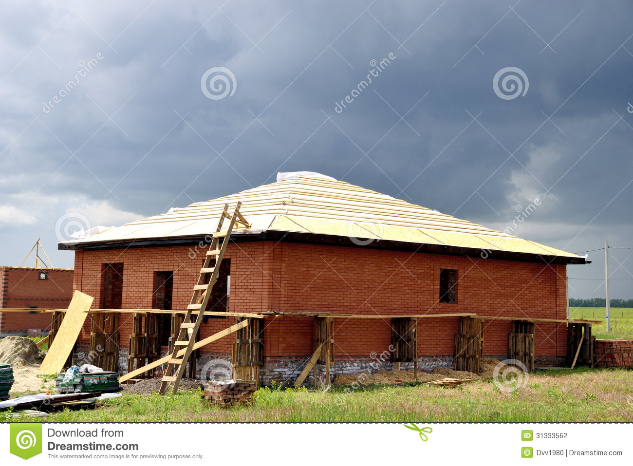 Roof framework stock photography image 31333562 for Building site house