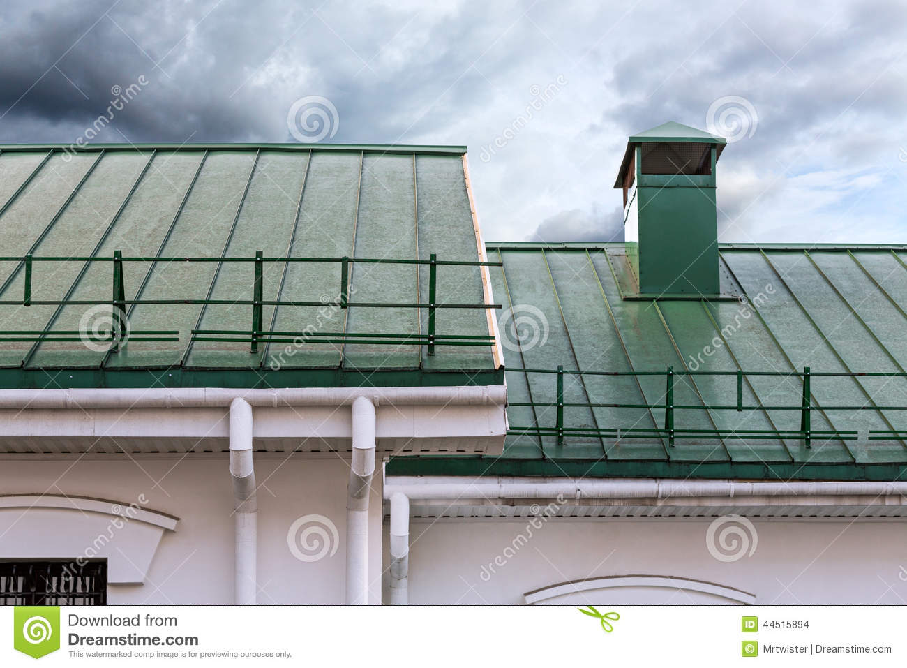 Roof with gutter and chimney