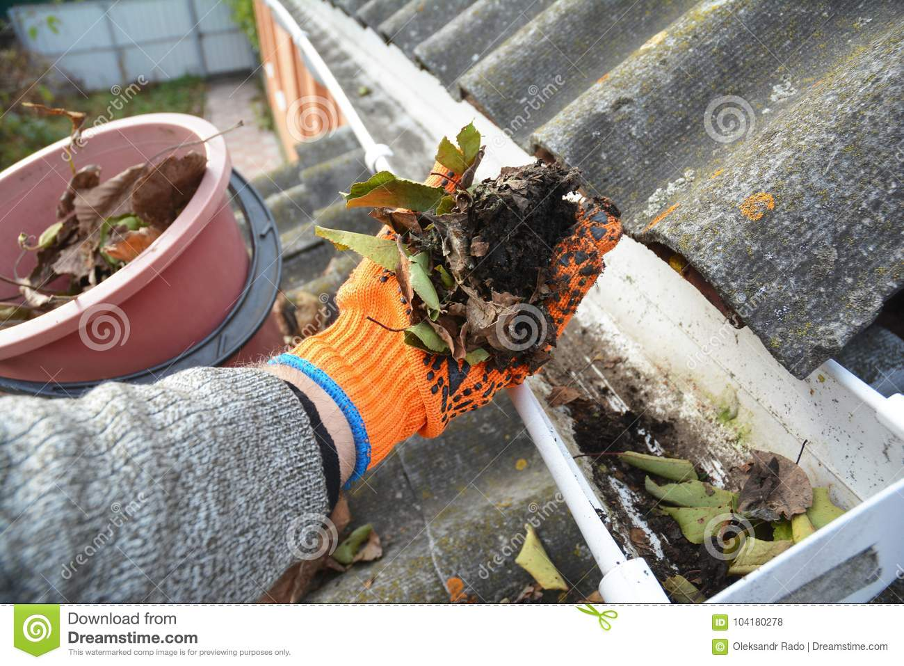 Roof Gutter Cleaning from Leaves in Autumn with hand. Roof Gutter Cleaning Tips.