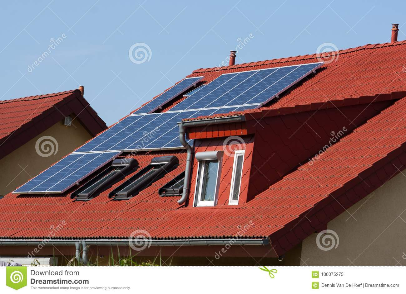 Solar systems on a roof.