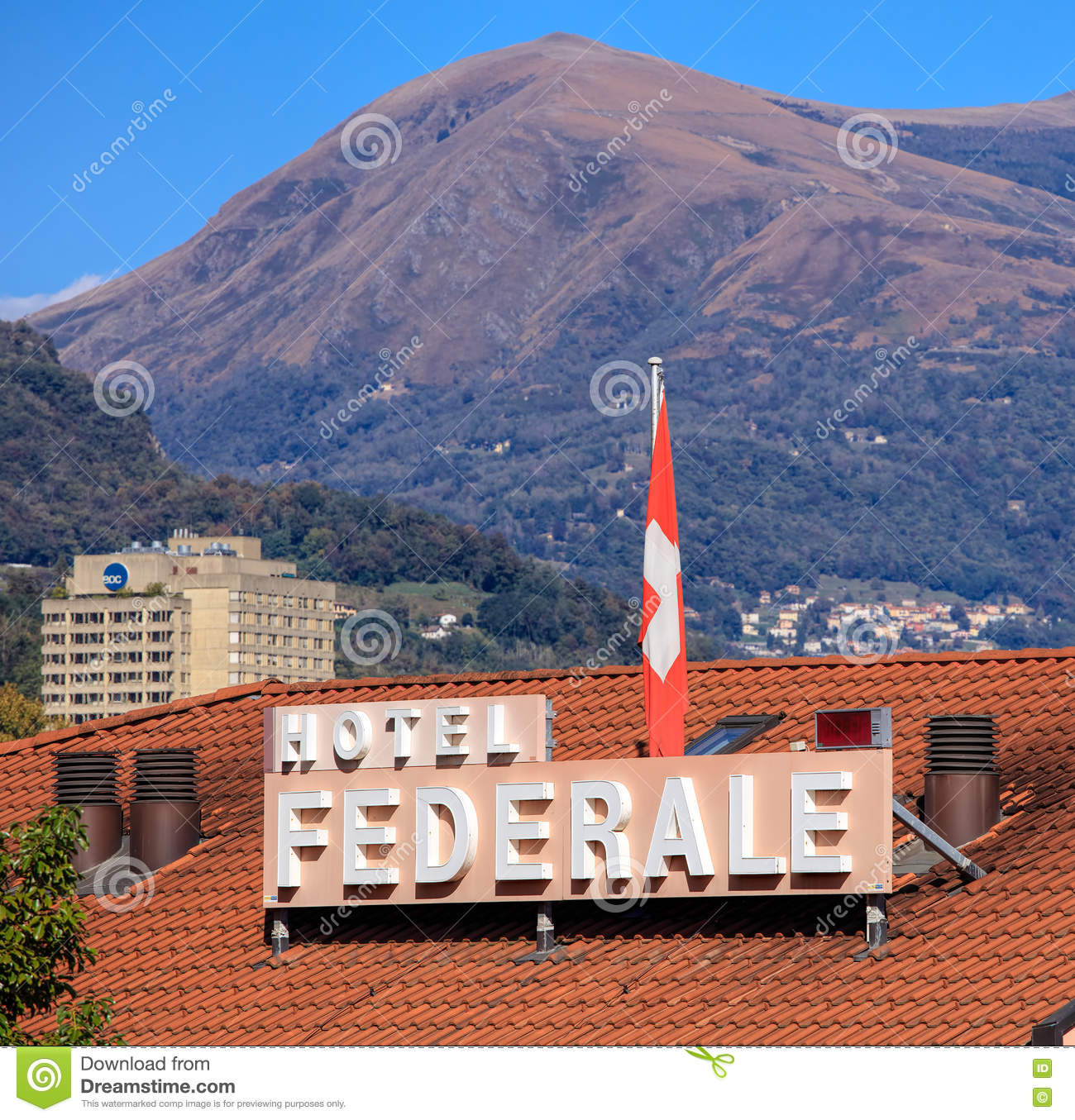 Hotel Federale Roof Of The Hotel Federale In Lugano Switzerland Editorial