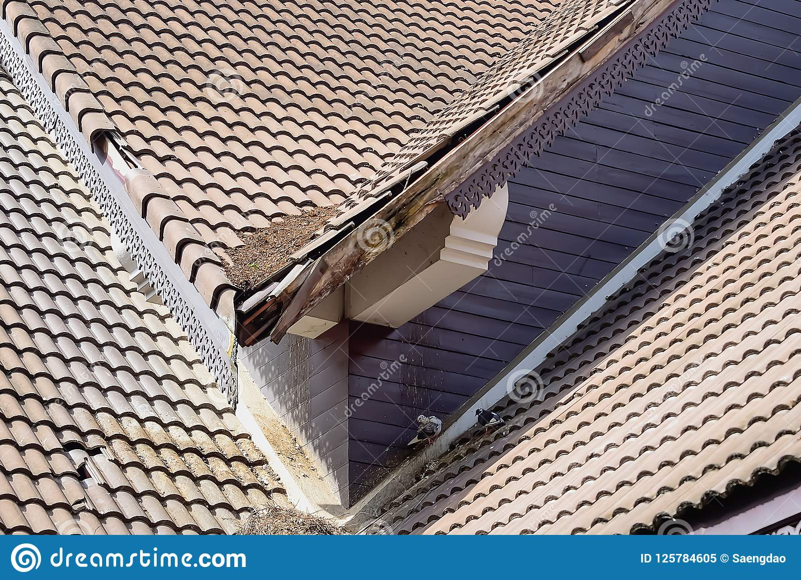 Home roof damage after storm surge.