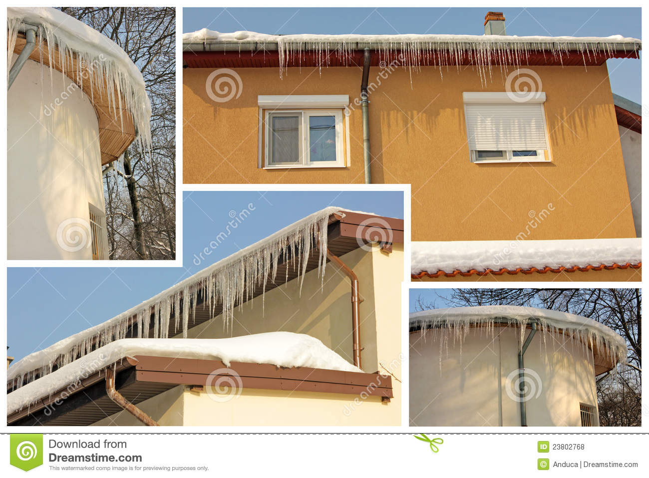 Roof icicles collage