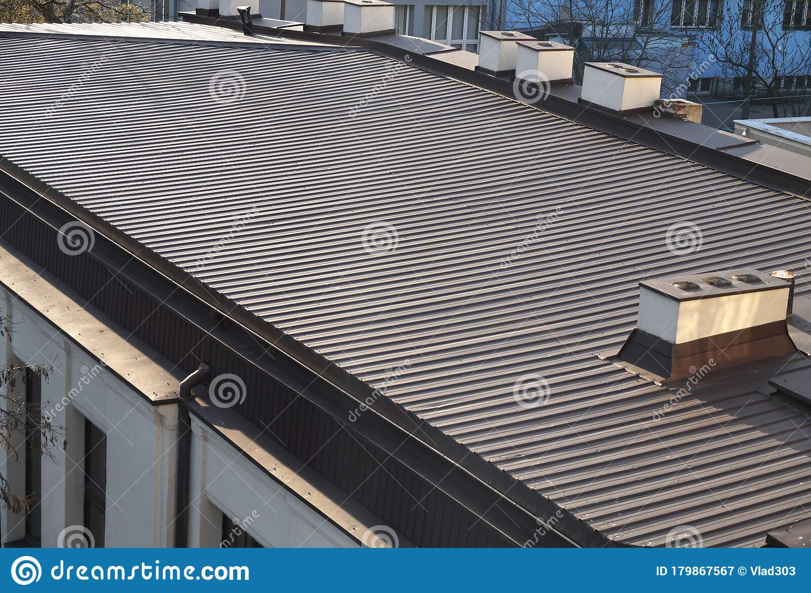 Roof Made Of Metal Roof Panels Large Building Roof Area Stock Image Image Of Color Gutter 179867567