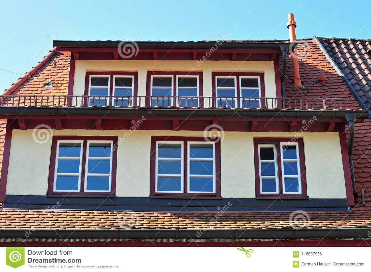 Roof With Mansard Windows Stock Photo Image Of Roof 118637956