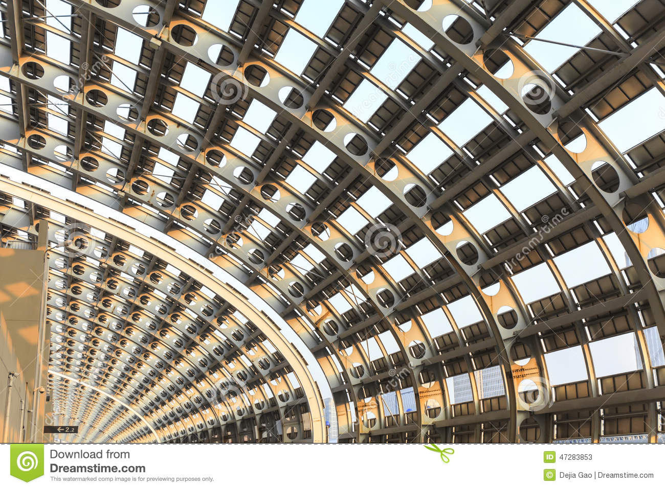 Modern Building Ceiling Steel Structure Stock Photo
