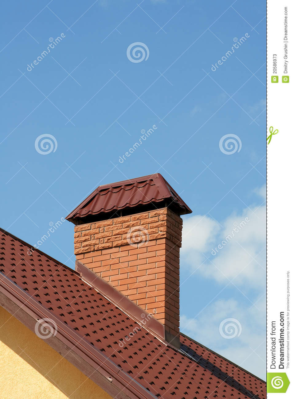 Brick House With Chimney : The roof of a modern house with brick chimney stock image