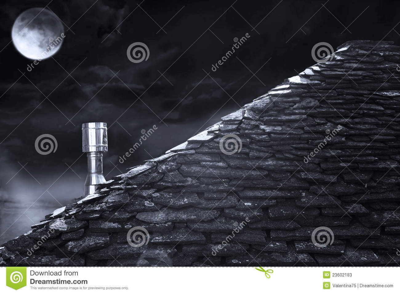 Roof At Night In Black And White Stock Photos Image