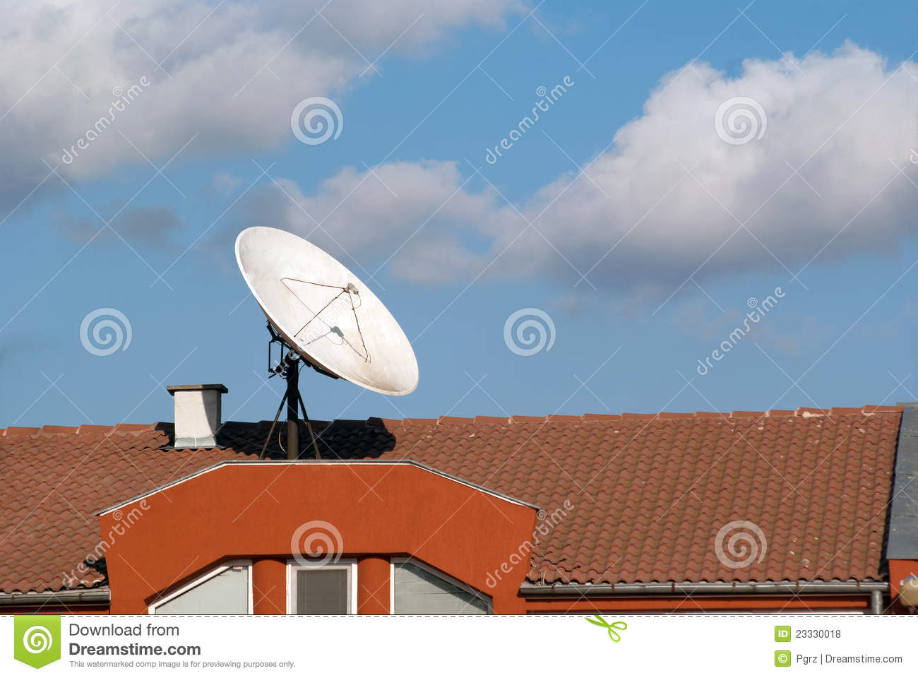 Roof With A Satellite Dish Royalty Free Stock Photos