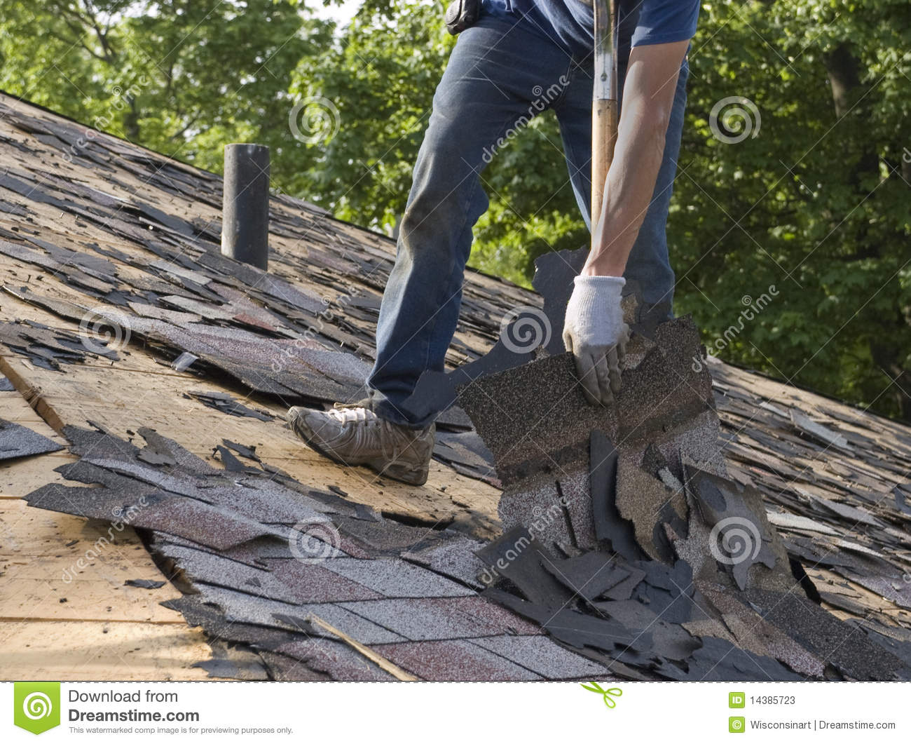 Roof Shingles Tear Off Home Repair Maintenance Stock Image