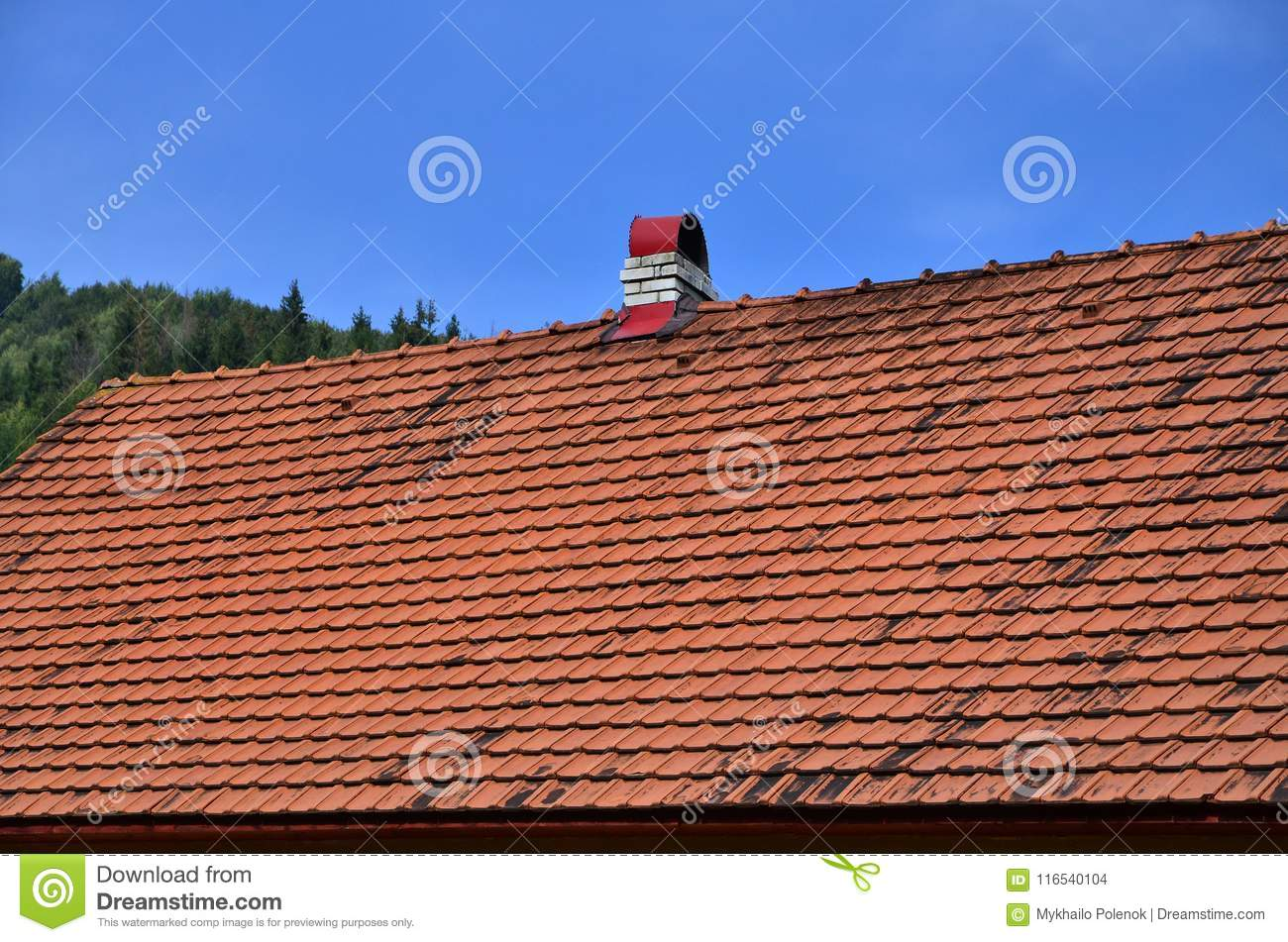 The roof of this square ceramic tile is red. The old type of roof covering in rich houses of the 19th centur