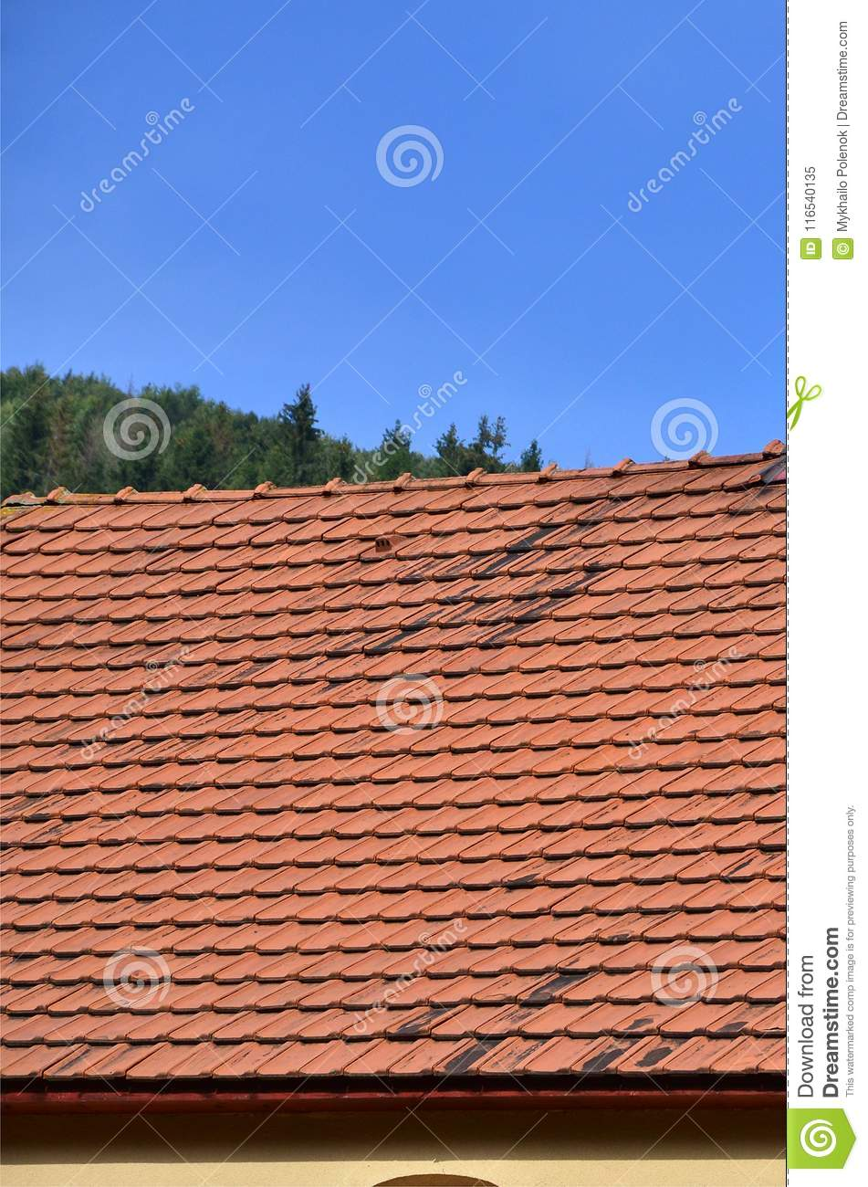 The Roof Of This Square Ceramic Tile Is Red The Old Type Of Roof