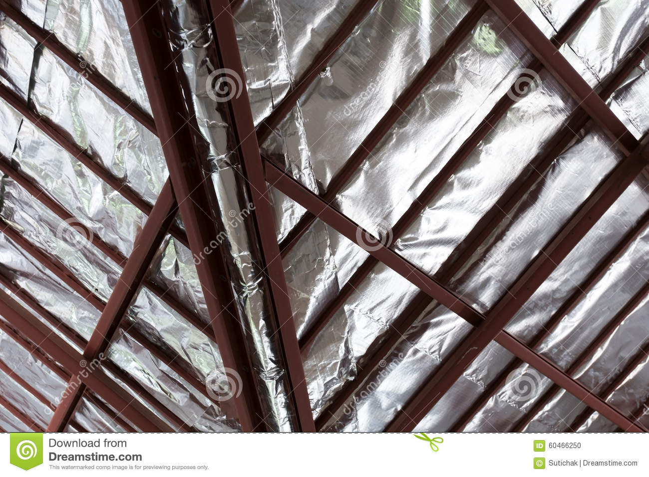 Ceiling thermal insulation hbm blog roof with steel beam and silver foil insulation heat on ceiling dailygadgetfo Images