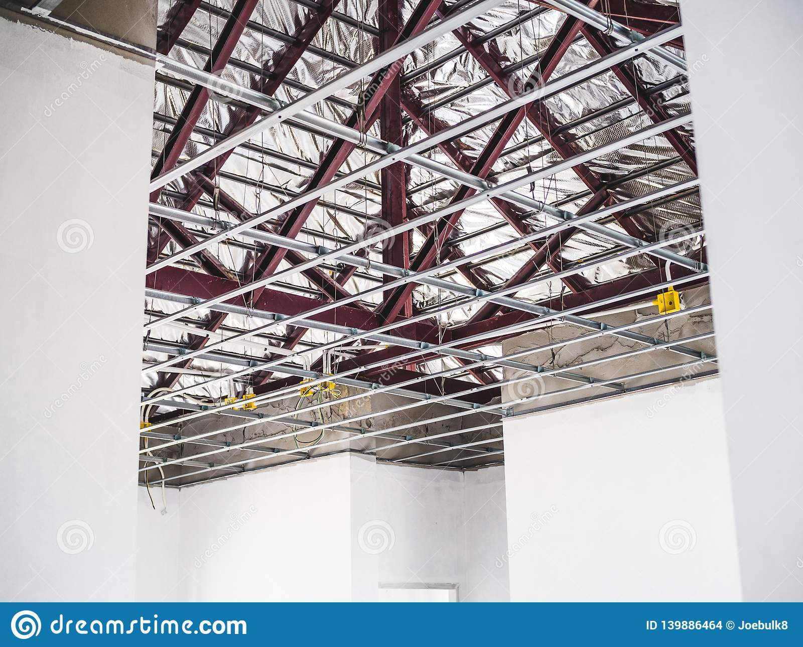 Roof Steel And Frame Of Suspended Ceiling Stock Photo