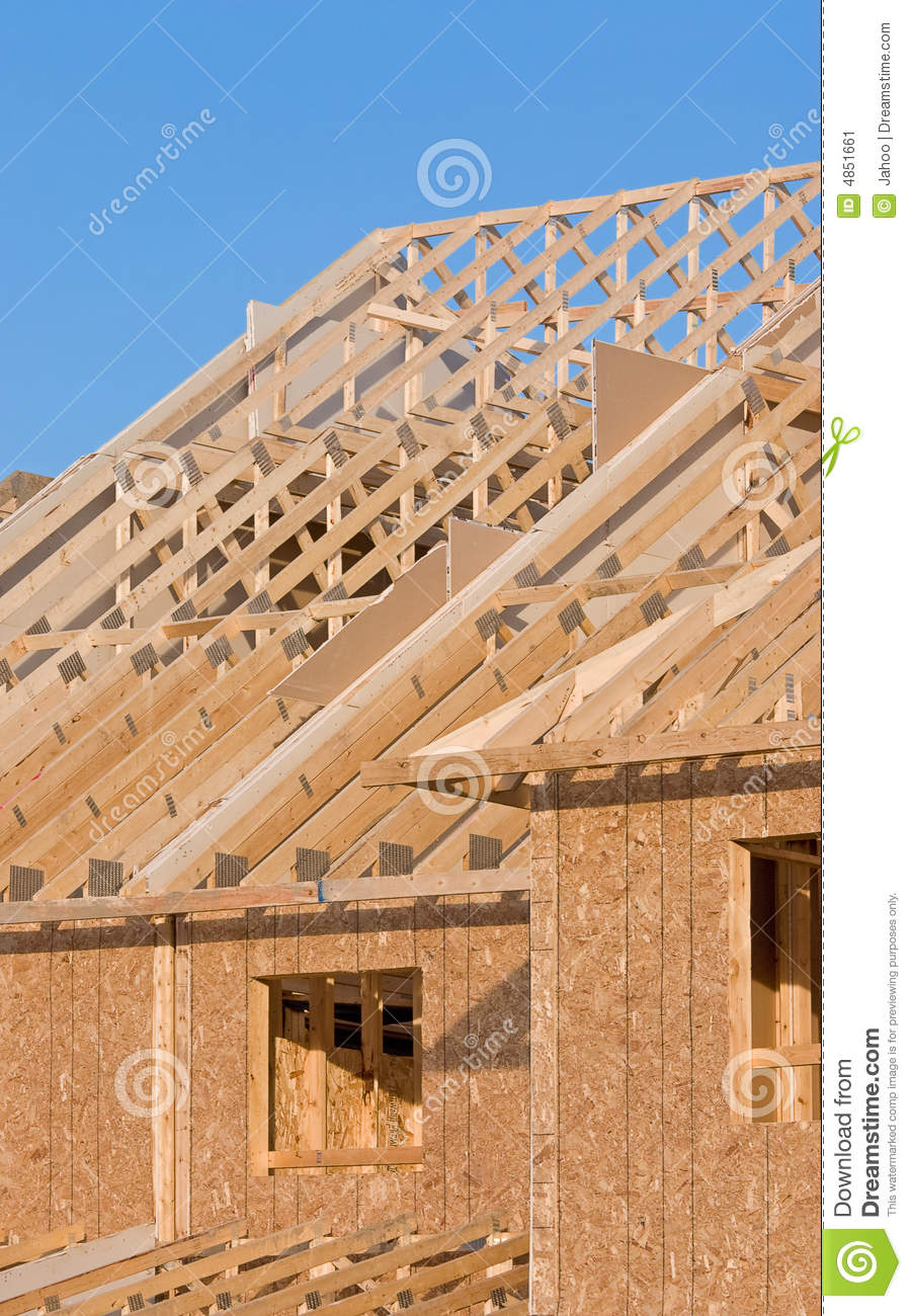 Roof structure of a new home stock image image 4851661 for New home structure