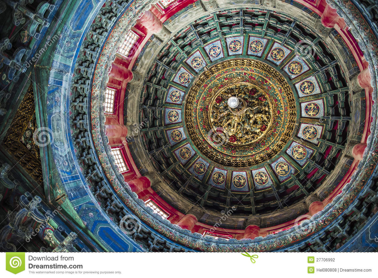 Ceiling of a temple in Beijing, China