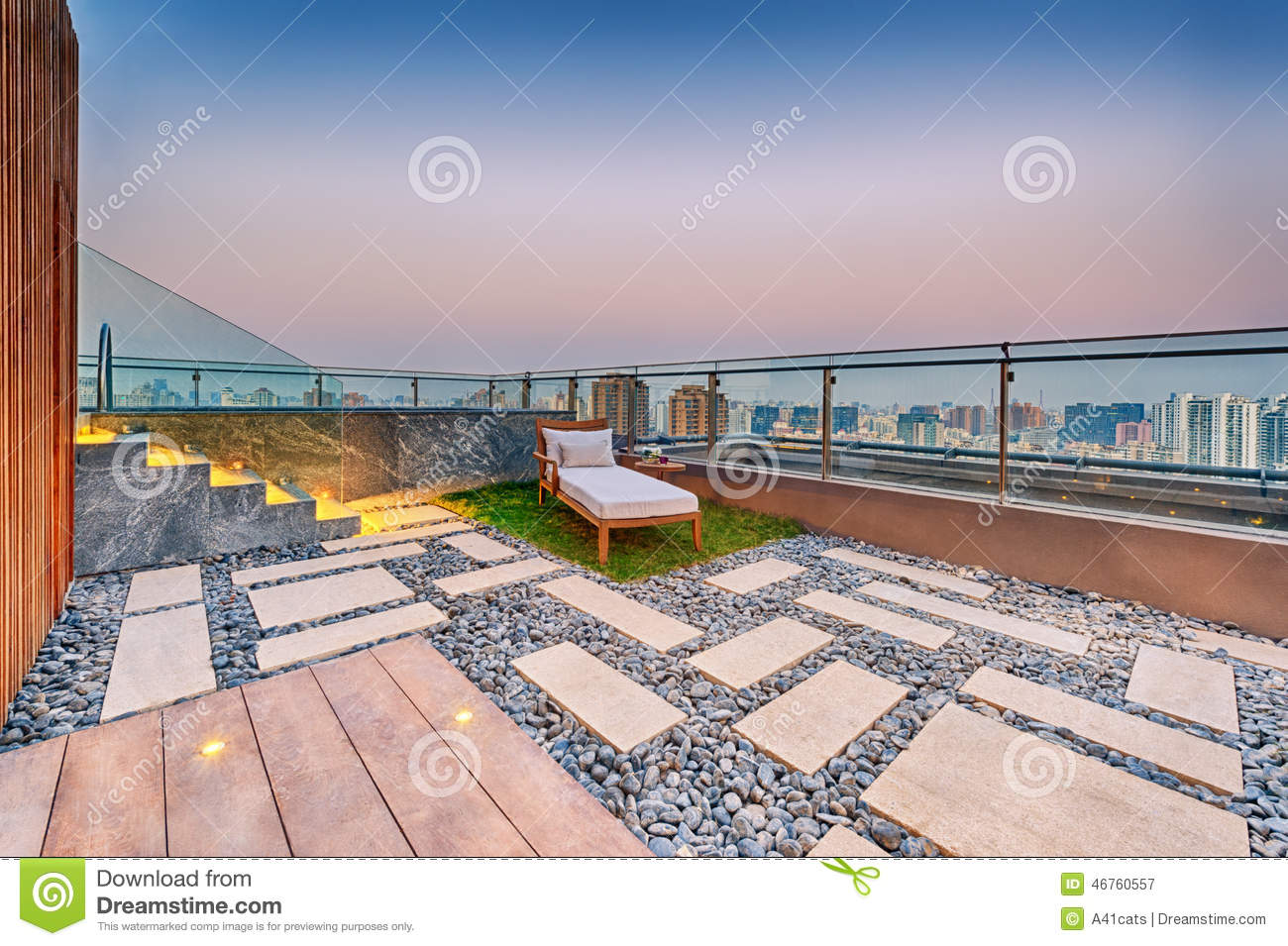 Roof terrace with jacuzzi and sun lounger stock photo for Terrace jacuzzi