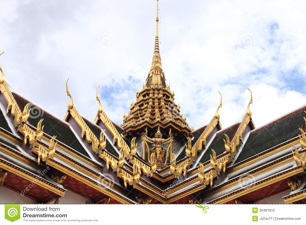 The roof thai architecture in wat phra kaew stock photo for Thailand architecture