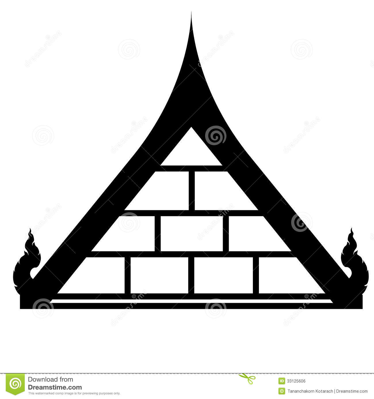 Thai roof design.we can see it on thai house or temple.