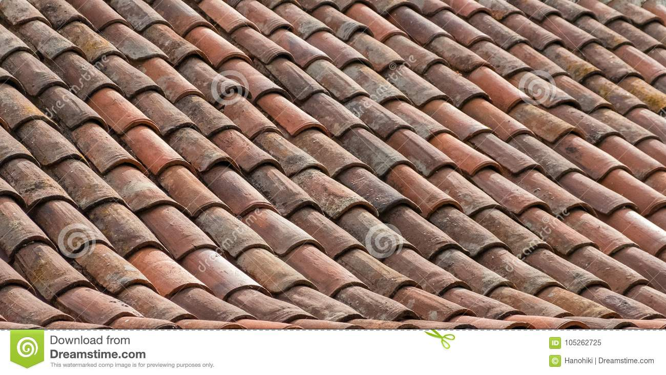 Roof Tile Background Old Ceramic Tiled Roof Closeup Stock Image