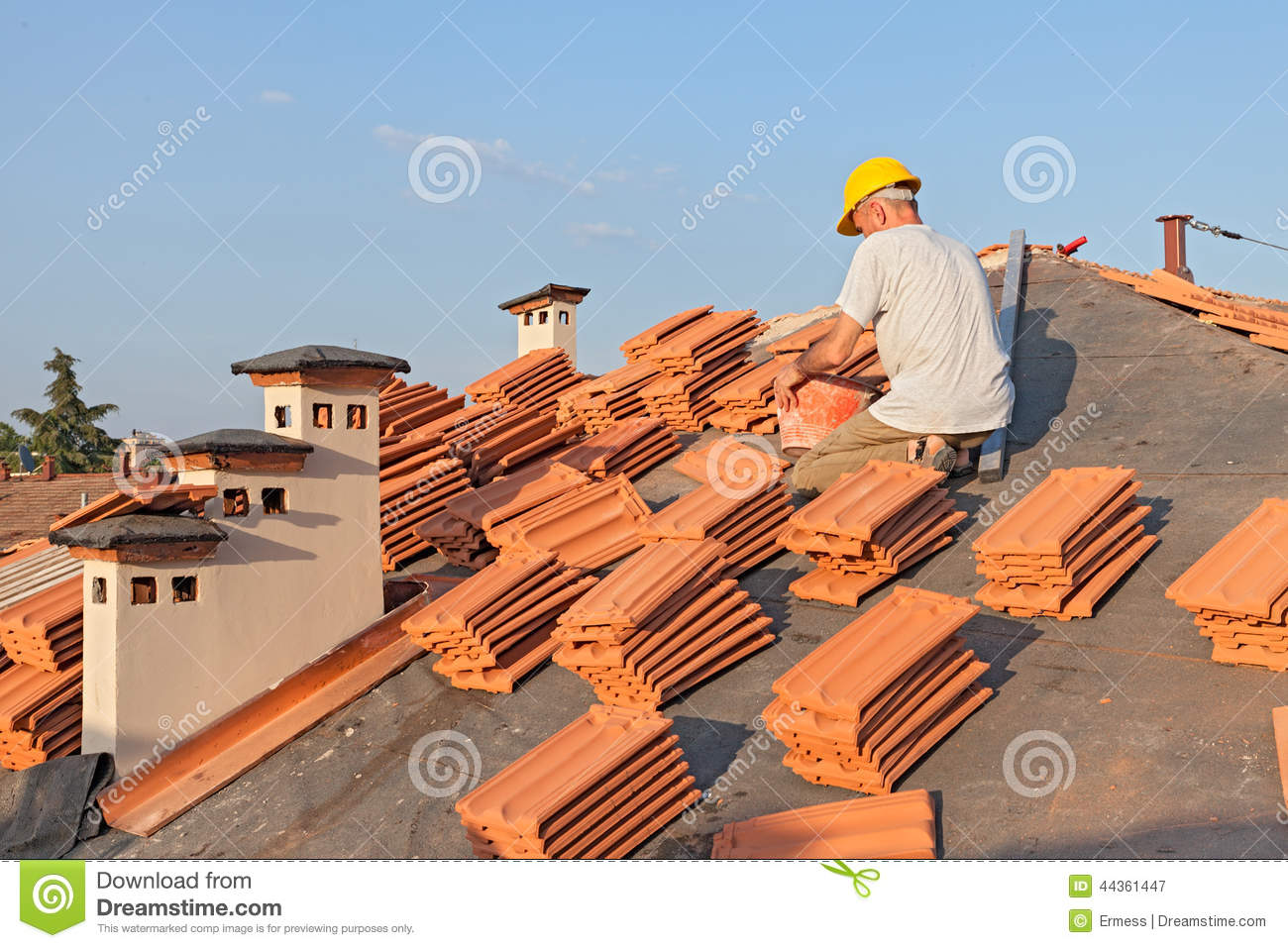 Cartoon Roofing Installation : Tile roof installation royalty free stock photo