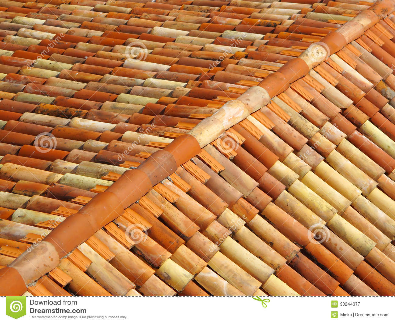 Roof tiles with ridge tiles on top stock image image Fired tiles