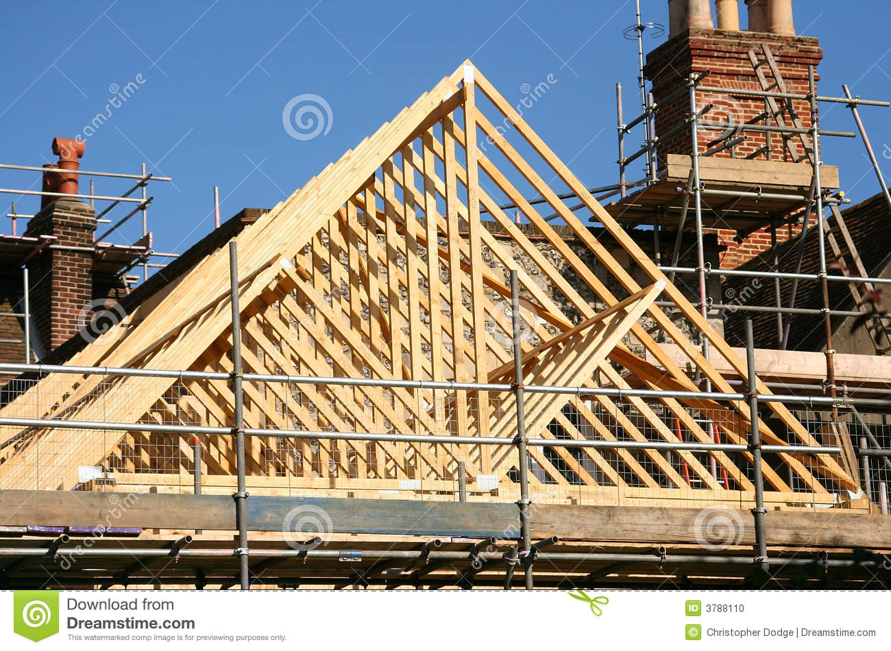 Roof Timber Frame Stock Photo Image Of Ladder Renovation